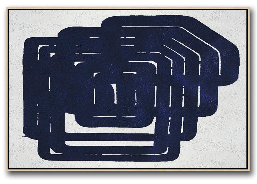 Huge Abstract Canvas Art,Horizontal Abstract Painting Navy Blue Minimalist Painting On Canvas,Modern Paintings On Canvas
