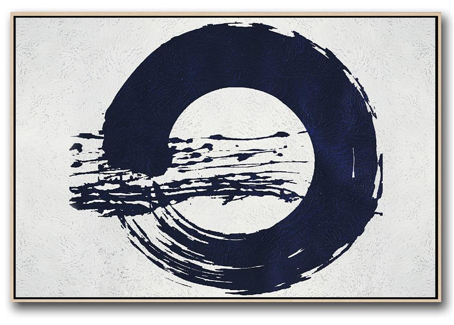 Pop Art Canvas,Horizontal Abstract Painting Navy Blue Minimalist Painting On Canvas,Canvas Artwork For Sale