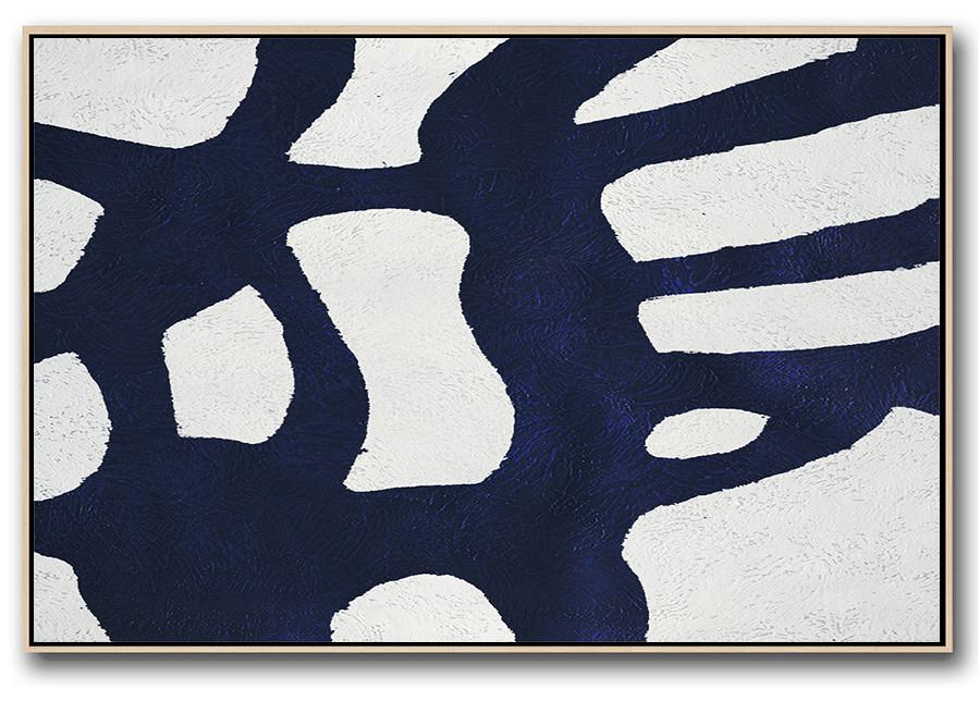 Oversized Custom Canvas Art,Horizontal Abstract Painting Navy Blue Minimalist Painting On Canvas,Huge Canvas Art On Canvas