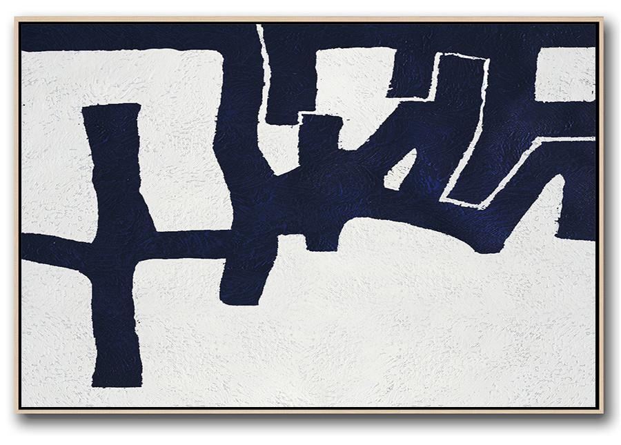 Large Wall Art Canvas,Horizontal Abstract Painting Navy Blue Minimalist Painting On Canvas,Hand Painted Original Art