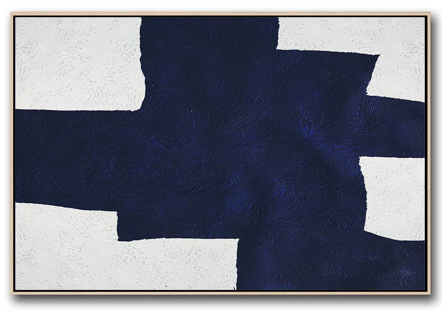Living Room Wall Art,Horizontal Abstract Painting Navy Blue Minimalist Painting On Canvas,Unique Canvas Art