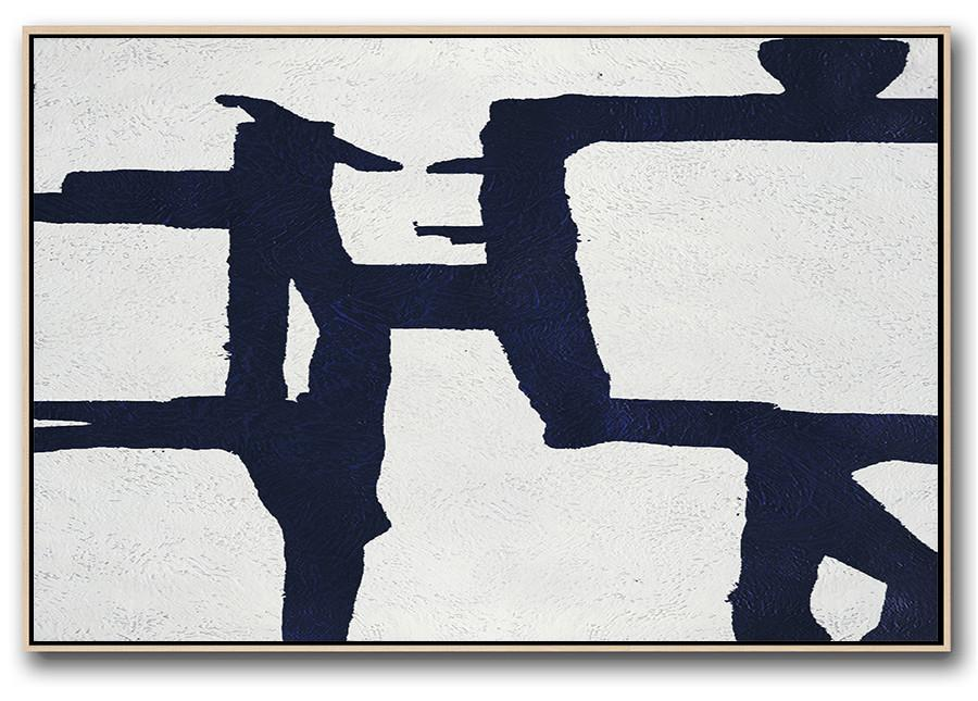 Huge Abstract Canvas Art,Horizontal Abstract Painting Navy Blue Minimalist Painting On Canvas,Giant Canvas Wall Art