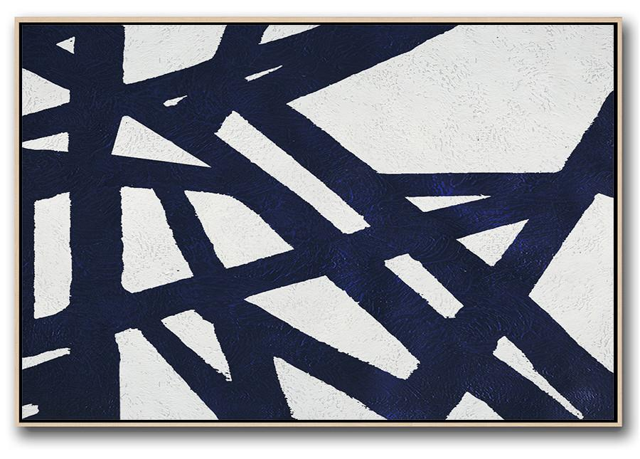 Canvas Wall Art,Horizontal Abstract Painting Navy Blue Minimalist Painting On Canvas,Huge Canvas Art On Canvas