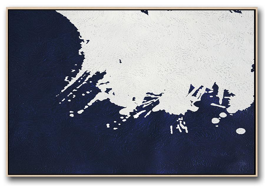 Contemporary Wall Art,Horizontal Abstract Painting Navy Blue Minimalist Painting On Canvas,Acrylic Minimailist Painting