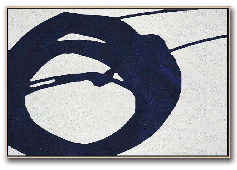 Modern Canvas Art,Horizontal Abstract Painting Navy Blue Minimalist Painting On Canvas,Large Contemporary Painting