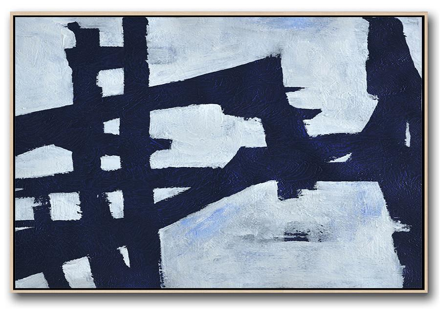 Contemporary Art Canvas Painting,Horizontal Abstract Painting Navy Blue Minimalist Painting On Canvas,Abstract Oil Painting