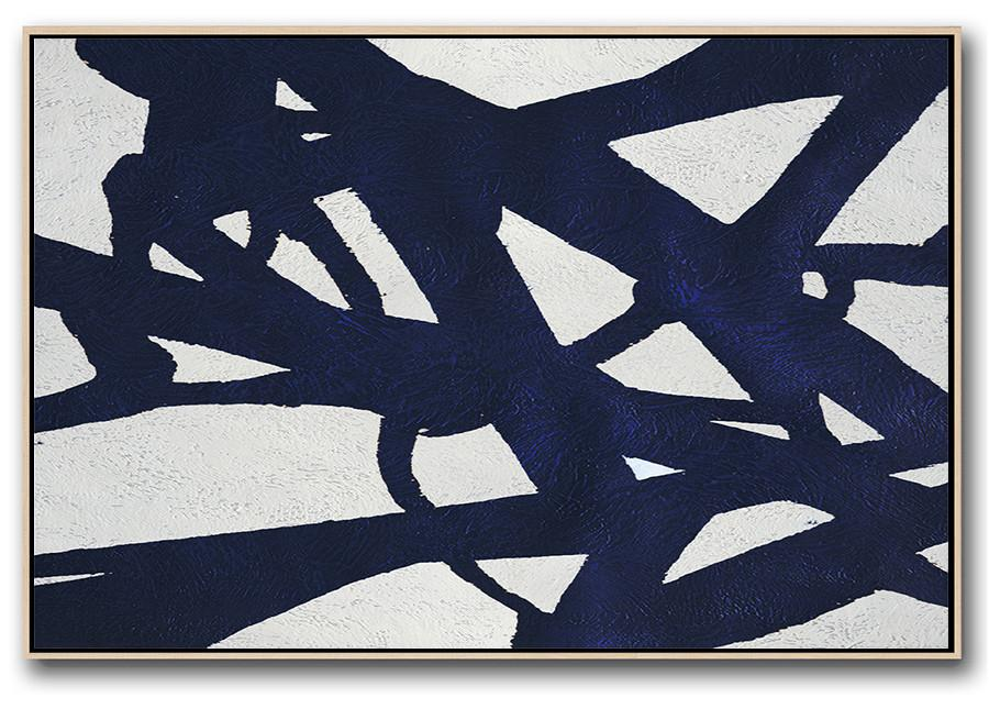 Large Abstract Art,Horizontal Abstract Painting Navy Blue Minimalist Painting On Canvas,Modern Abstract Wall Art