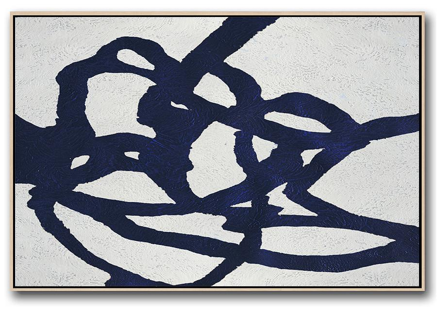 Wall Art Painting,Horizontal Abstract Painting Navy Blue Minimalist Painting On Canvas,Living Room Wall Art