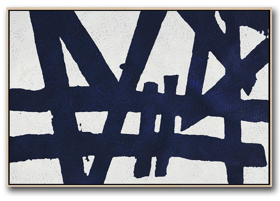 Artwork For Sale,Horizontal Abstract Painting Navy Blue Minimalist Painting On Canvas,Large Abstract Wall Art