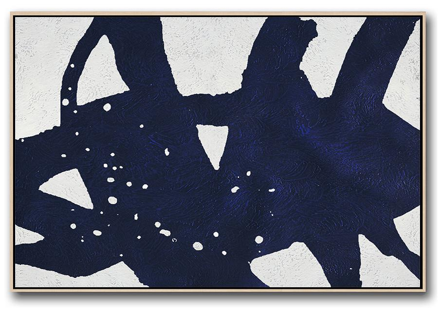 Canvas Wall Art,Horizontal Abstract Painting Navy Blue Minimalist Painting On Canvas,Large Abstract Wall Art
