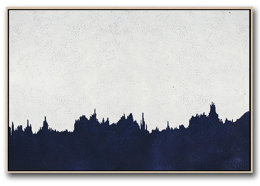 Contemporary Art Acrylic Painting,Horizontal Abstract Painting Navy Blue Minimalist Painting On Canvas,Wall Art Painting