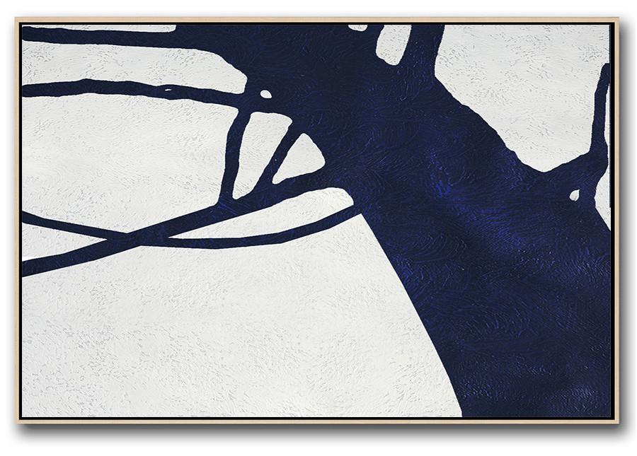 Canvas Paintings For Sale,Horizontal Abstract Painting Navy Blue Minimalist Painting On Canvas,Original Art