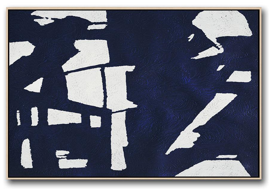 Wall Art Painting,Horizontal Abstract Painting Navy Blue Minimalist Painting On Canvas,Acrylic Painting Wall Art