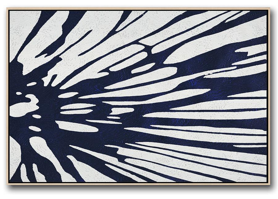 "Extra Large 72"" Acrylic Painting,Horizontal Abstract Painting Navy Blue Minimalist Painting On Canvas,Modern Art Abstract Painting"