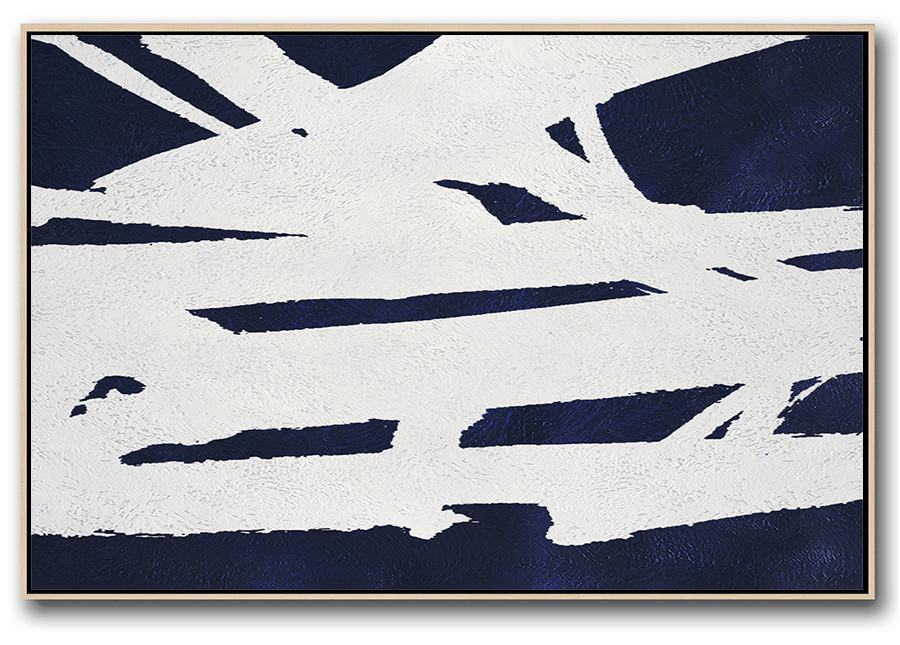 Large Abstract Art Handmade Oil Painting,Horizontal Abstract Painting Navy Blue Minimalist Painting On Canvas,Extra Large Artwork