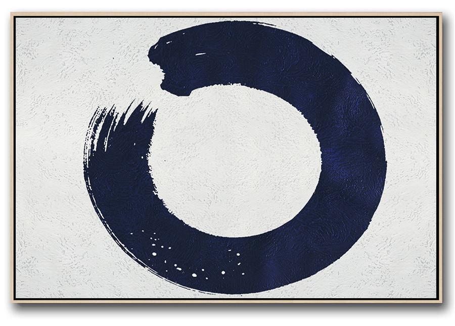 Big Living Room Decor,Horizontal Navy Painting Abstract Minimalist Art On Canvas,Big Wall Art For Living Room
