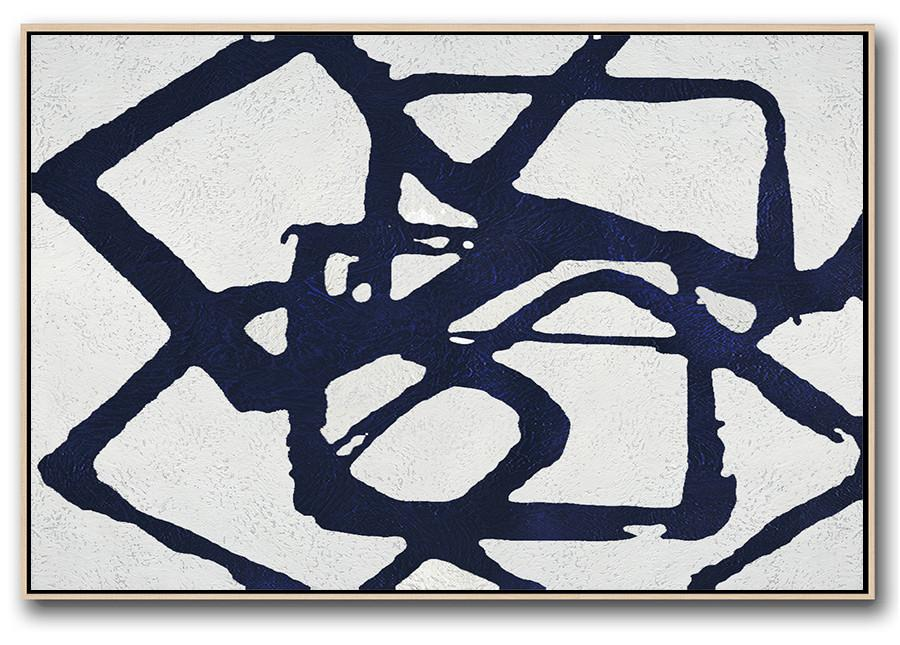 Decorating A Big Living Room,Horizontal Navy Painting Abstract Minimalist Art On Canvas,Giant Wall Decor