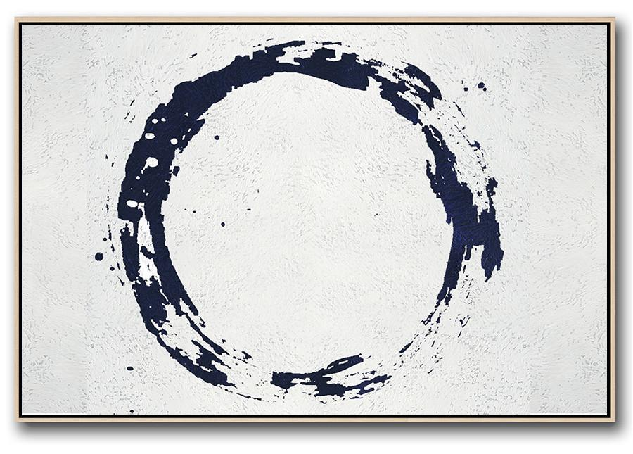 Handmade Large Painting,Horizontal Navy Painting Abstract Minimalist Art On Canvas,Abstract Painting On Canvas