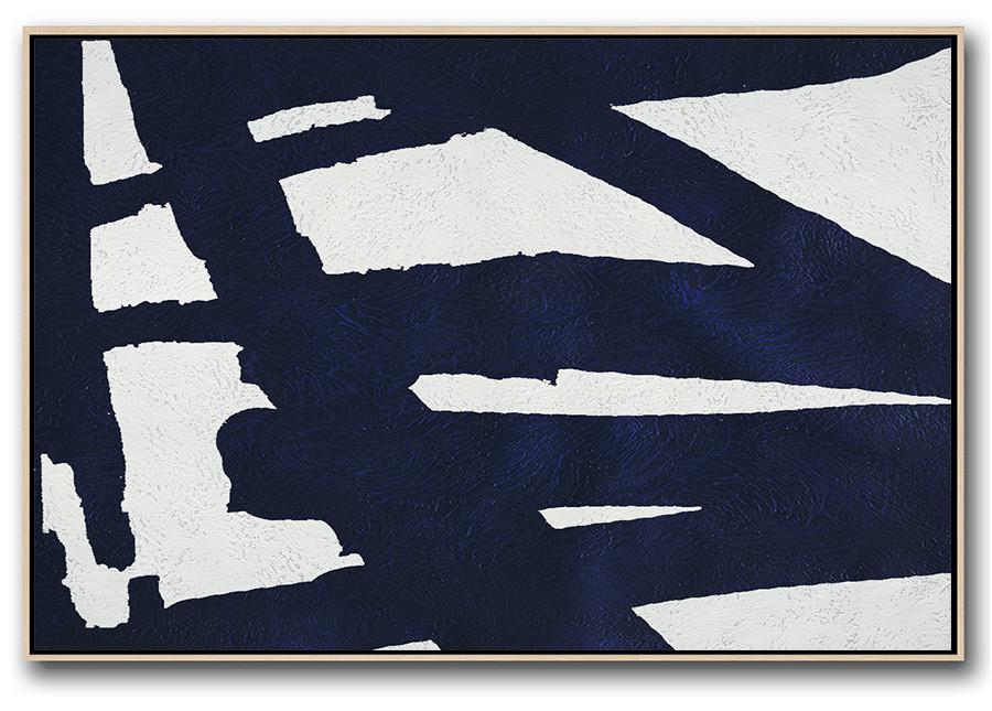 Modern Art Oil Painting,Horizontal Navy Painting Abstract Minimalist Art On Canvas,Custom Oil Painting