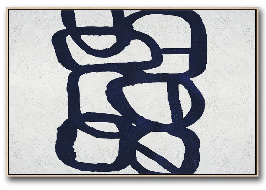 Handmade Painting Large Abstract Art,Horizontal Navy Painting Abstract Minimalist Art On Canvas,Contemporary Art Canvas Painting