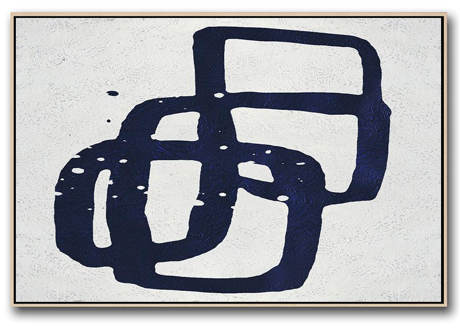 Modern Art Abstract Painting,Horizontal Navy Painting Abstract Minimalist Art On Canvas,Big Canvas Painting
