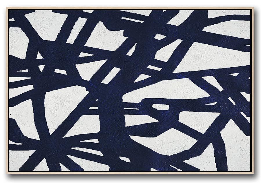 Extra Large Wall Art,Horizontal Navy Painting Abstract Minimalist Art On Canvas,Huge Abstract Canvas Art