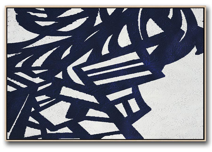 Hand Painted Aclylic Painting On Canvas,Horizontal Navy Painting Abstract Minimalist Art On Canvas,Acrylic Painting Large Wall Art