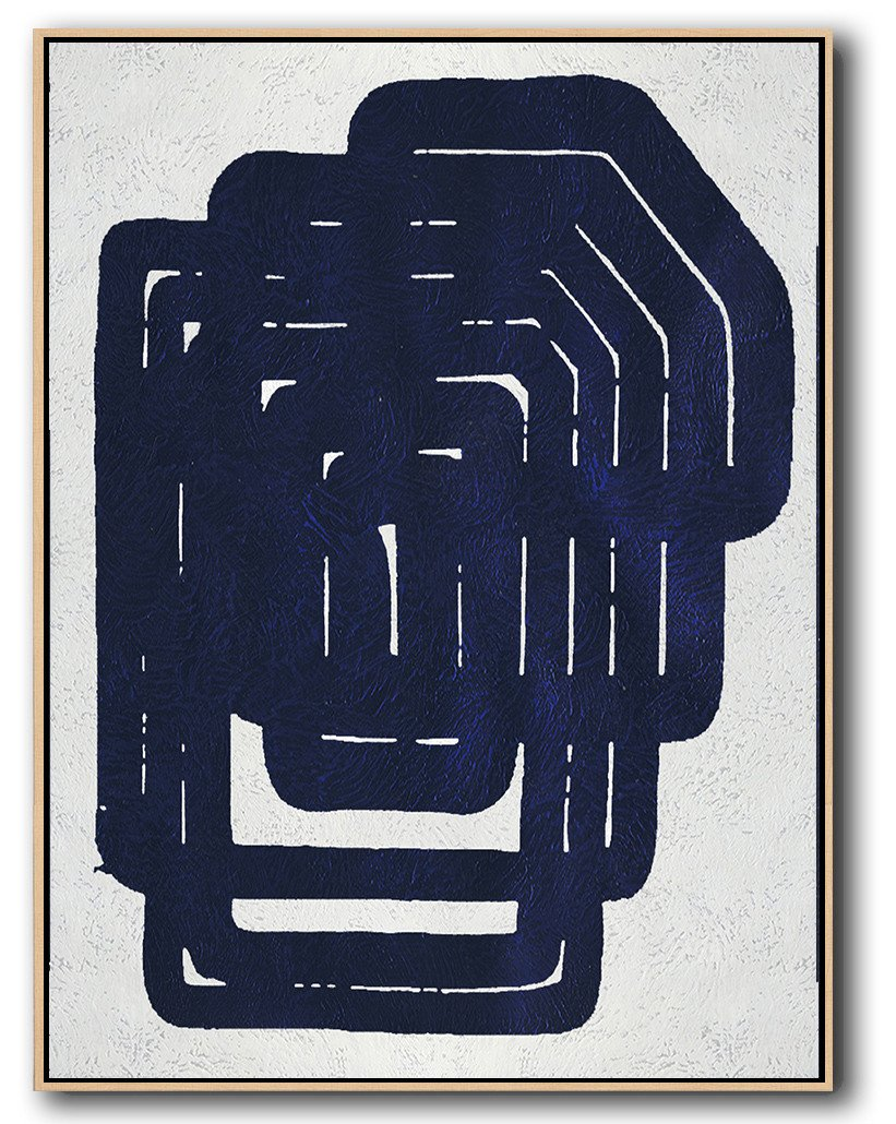 Large Abstract Art Handmade Painting,Navy Blue Abstract Painting Online,Large Oil Canvas Art