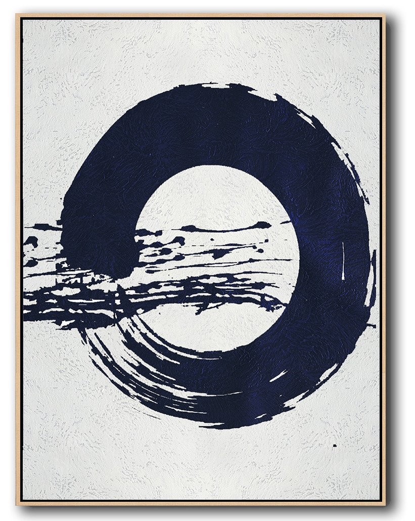 Oversized Canvas Art On Canvas,Navy Blue Abstract Painting Online,Large Canvas Art