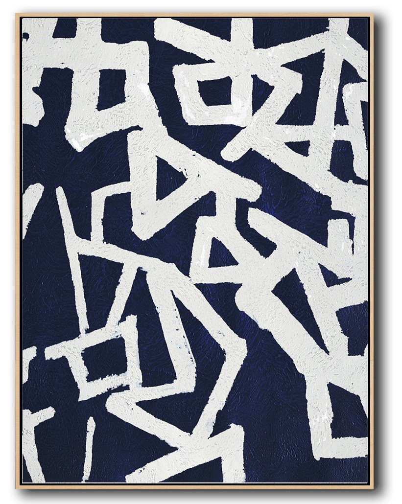 Abstract Painting Extra Large Canvas Art,Navy Blue Abstract Painting Online,Big Art Canvas