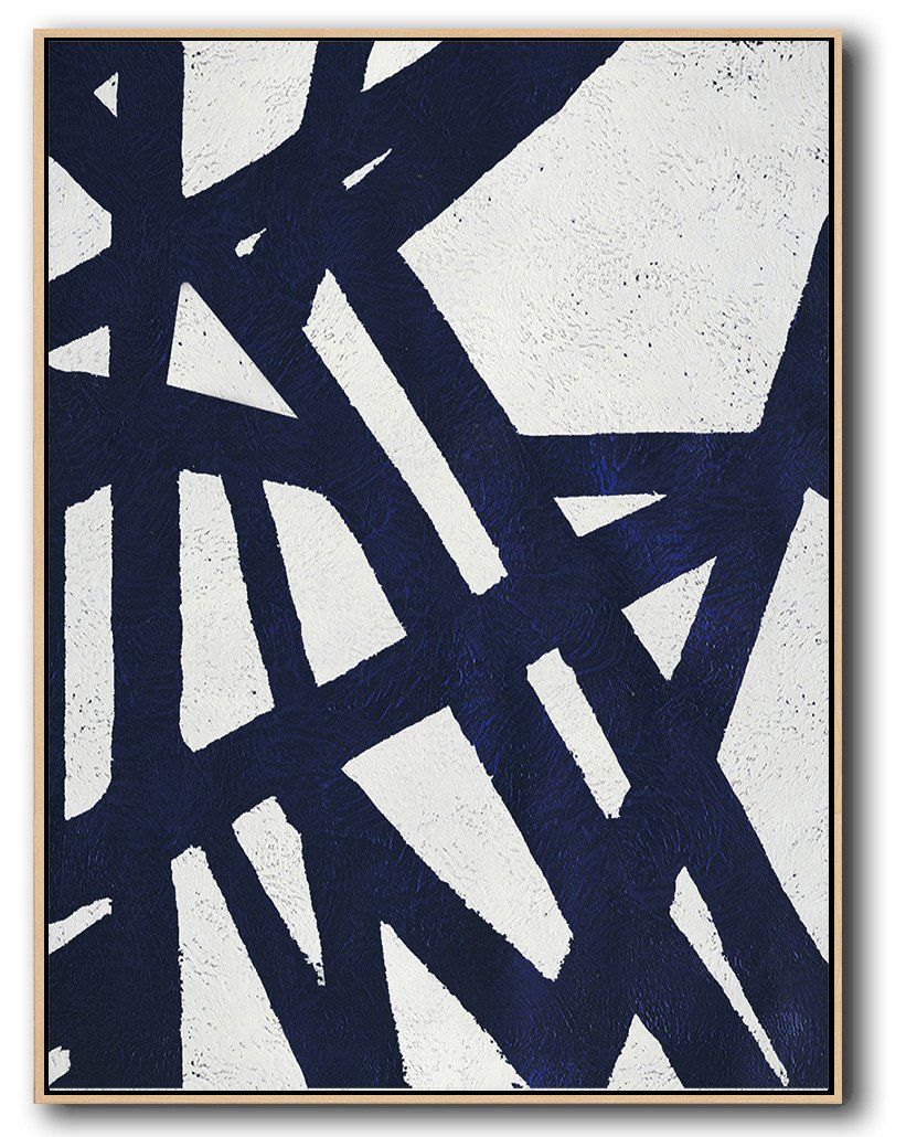 Large Abstract Painting Canvas Art,Navy Blue Abstract Painting Online,Canvas Wall Art