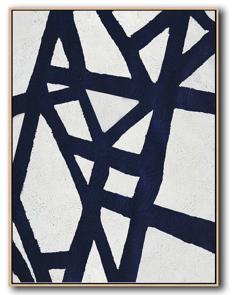 Large Contemporary Art Acrylic Painting,Navy Blue Abstract Painting Online,Modern Art