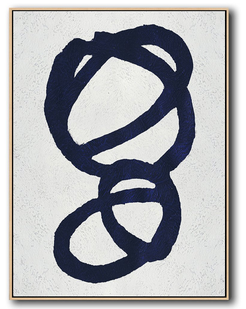 Extra Large Canvas Art,Navy Blue Abstract Painting Online,Large Wall Canvas Paintings