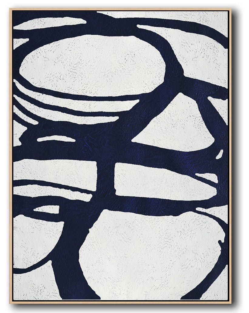 Abstract Painting Extra Large Canvas Art,Navy Blue Abstract Painting Online,Acrylic Painting On Canvas