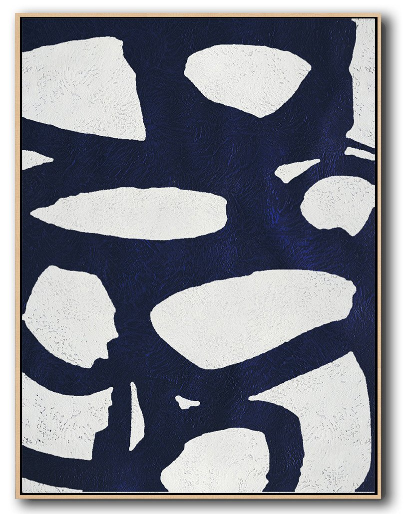 Extra Large Canvas Art,Navy Blue Abstract Painting Online,Large Abstract Wall Art
