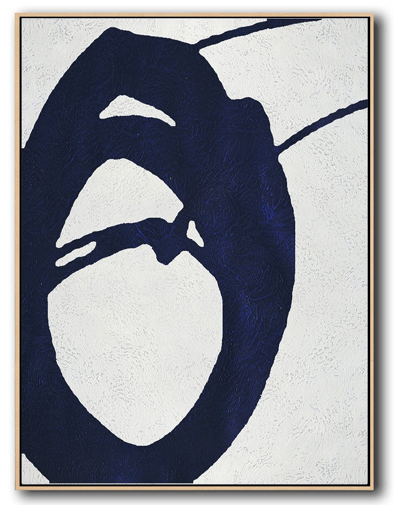 Hand Made Abstract Art,Navy Blue Abstract Painting Online,Large Living Room Wall Decor