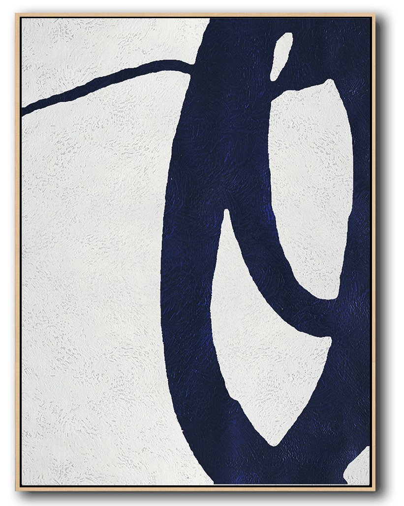 "Extra Large 72"" Acrylic Painting,Navy Blue Abstract Painting Online,Canvas Paintings For Sale"