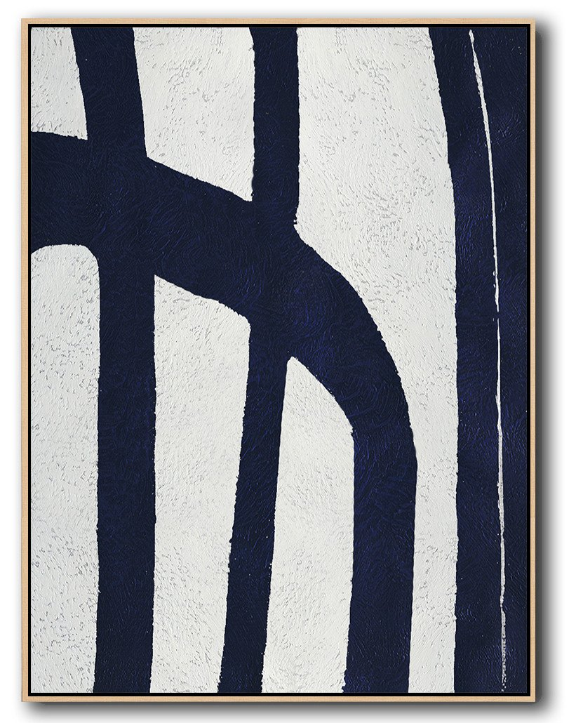 Abstract Painting Extra Large Canvas Art,Navy Blue Abstract Painting Online,Contemporary Art Acrylic Painting