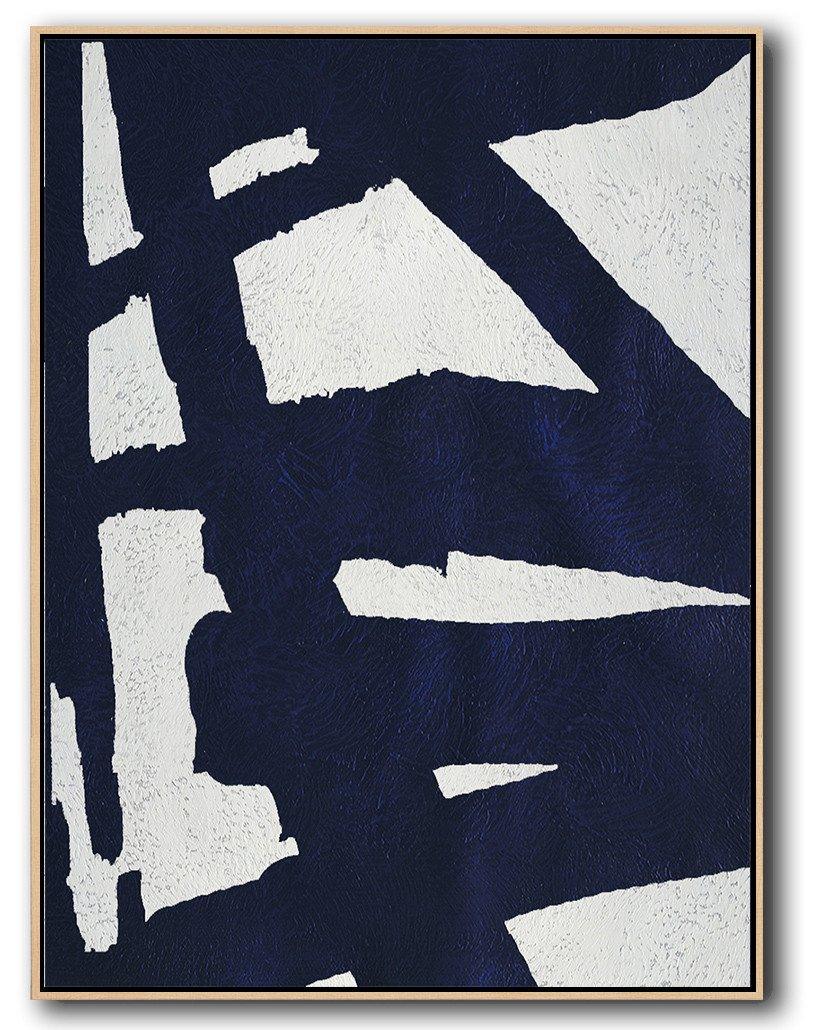 Large Abstract Painting Canvas Art,Navy Blue Abstract Painting Online,Extra Large Artwork