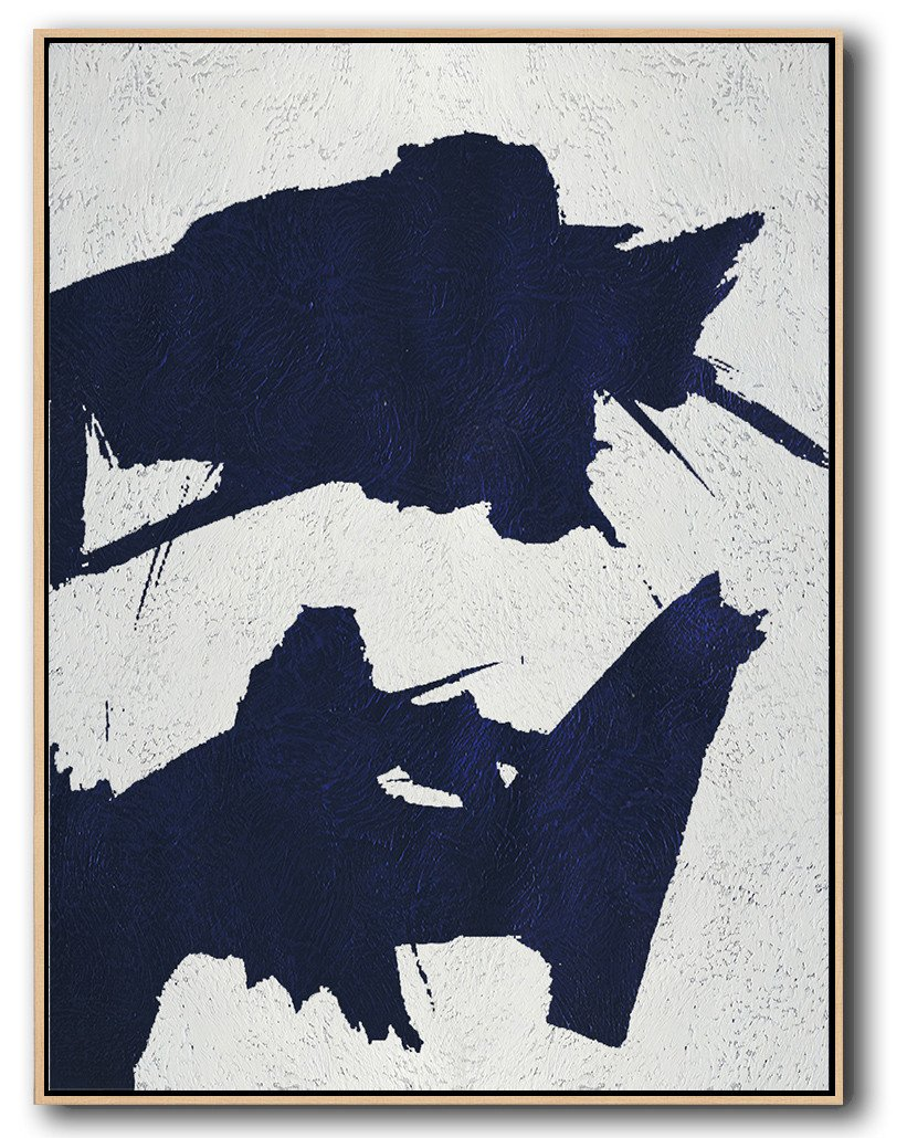 Handmade Large Painting,Navy Blue Abstract Painting Online ...