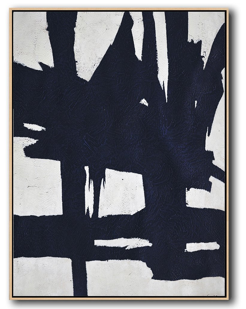Handmade Large Contemporary Art,Navy Blue Abstract Painting Online,Large Wall Canvas