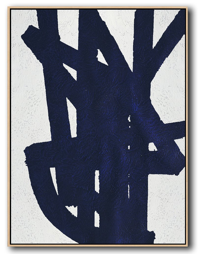 Oversized Canvas Art On Canvas,Navy Blue Abstract Painting Online,Contemporary Art Wall Decor