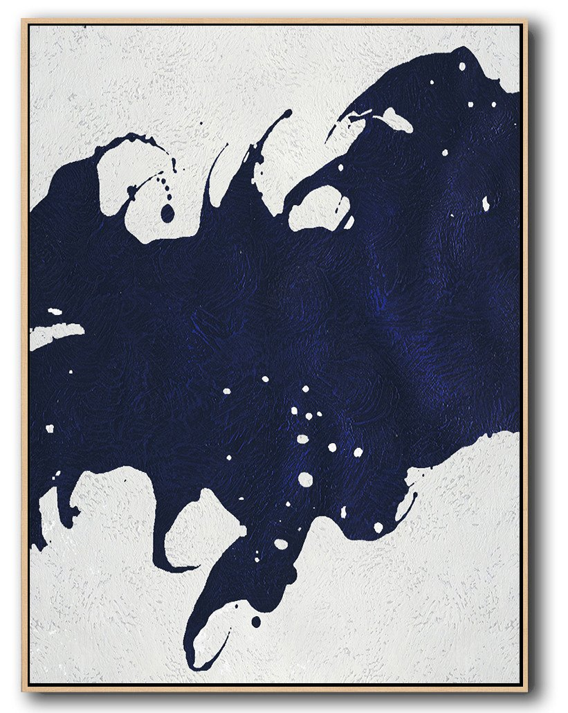 Large Abstract Art,Navy Blue Abstract Painting Online,Huge Abstract Canvas Art