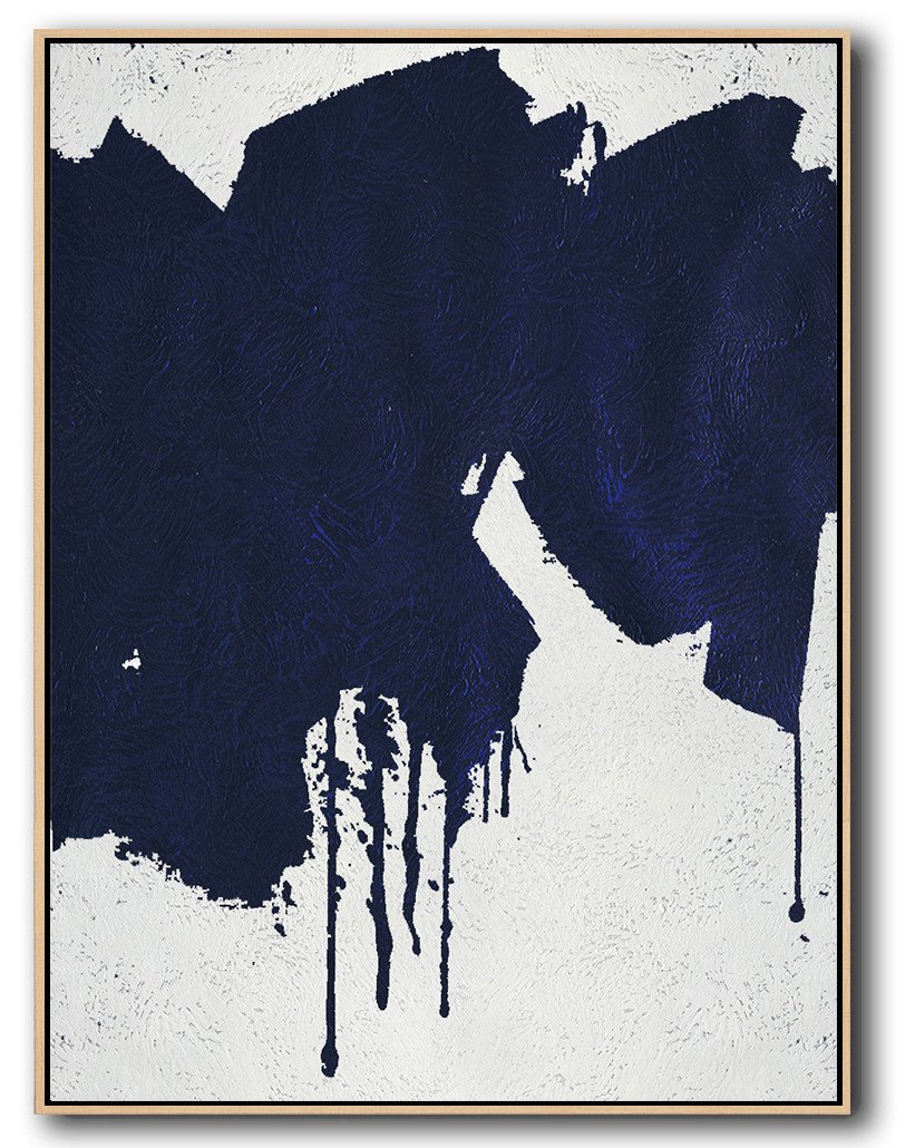 Extra Large Acrylic Painting On Canvas,Navy Blue Abstract Painting Online,Modern Art Abstract Painting