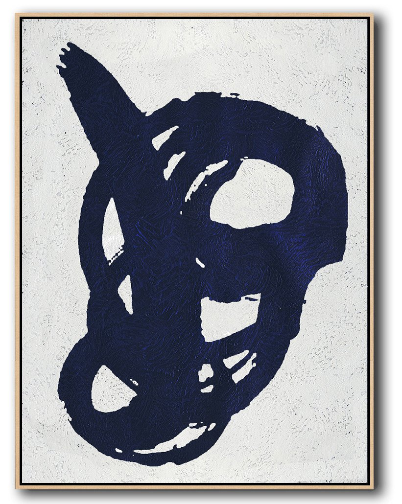 Extra Large Painting,Navy Blue Abstract Painting Online,Hand Paint Abstract Painting