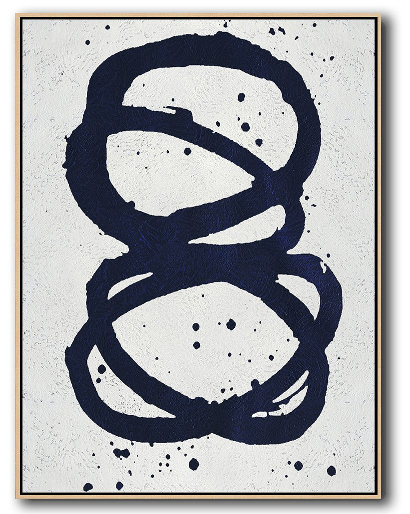 Handmade Large Painting,Navy Blue Abstract Painting Online,Wall Art Painting