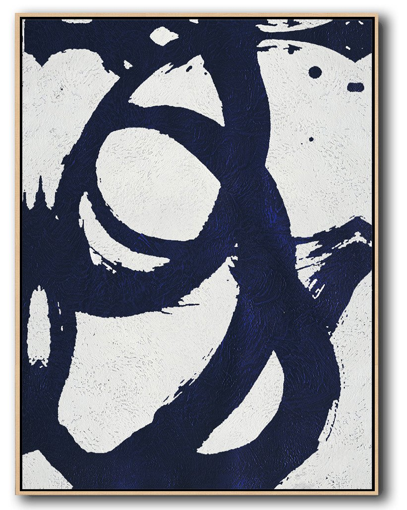 "Extra Large 72"" Acrylic Painting,Navy Blue Abstract Painting Online,Hand-Painted Canvas Art"