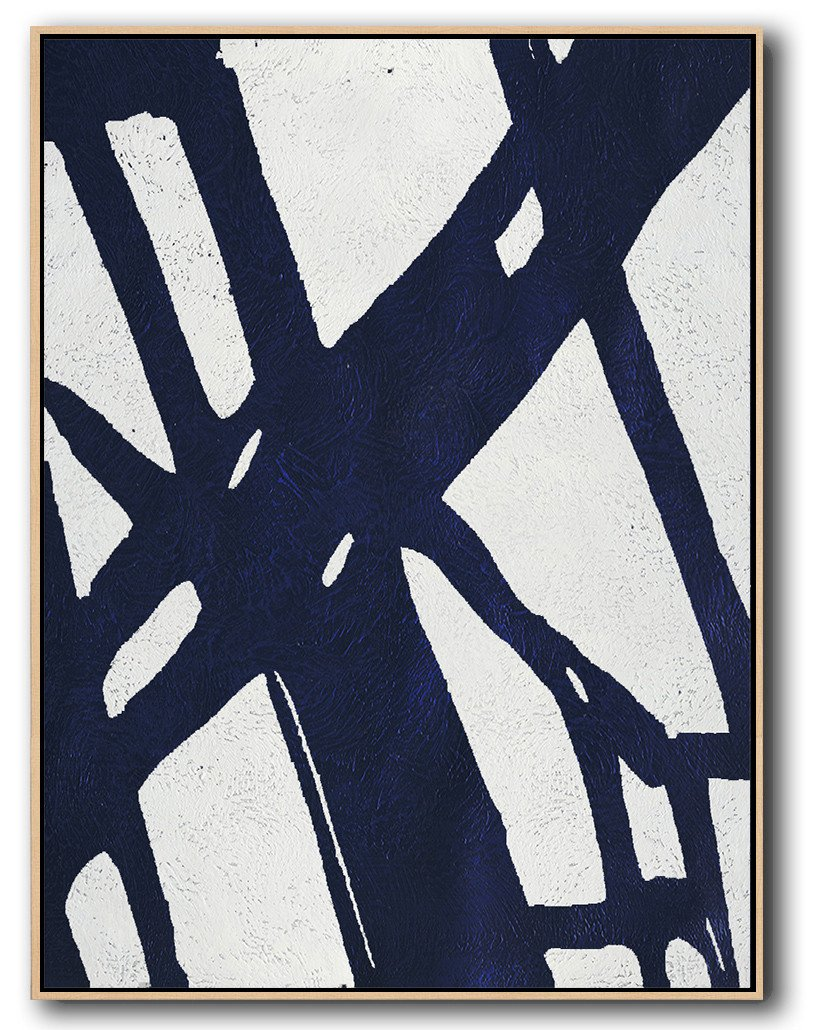 Original Extra Large Wall Art,Navy Blue Abstract Painting Online,Big Canvas Painting