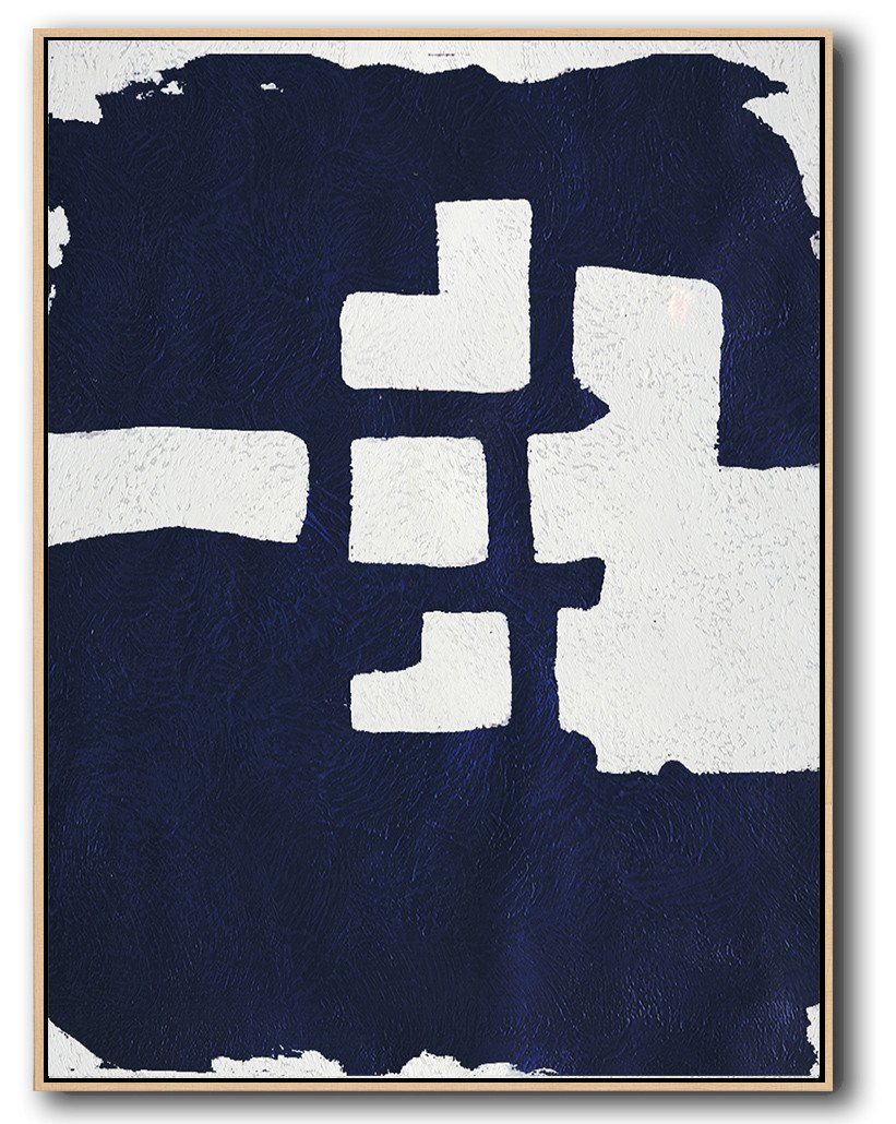 Hand Painted Extra Large Abstract Painting,Navy Blue Abstract Painting Online,Modern Wall Art