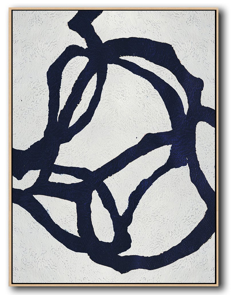 Oversized Canvas Art On Canvas,Navy Blue Abstract Painting Online,Modern Art Abstract Painting